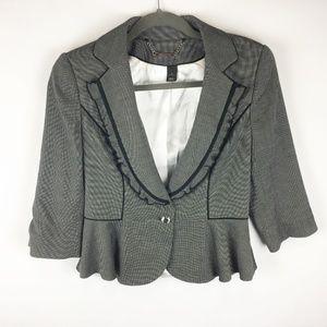 WHBM Cropped Peplum Jacket Gray Black Size 6